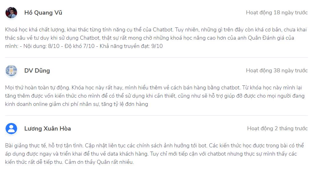 nhận xét chatbot