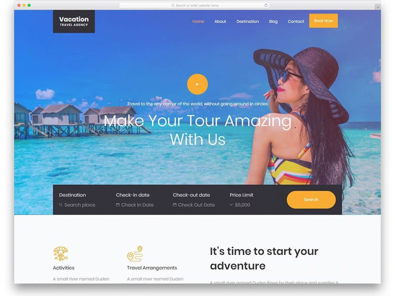 website lĩnh vực du lịch