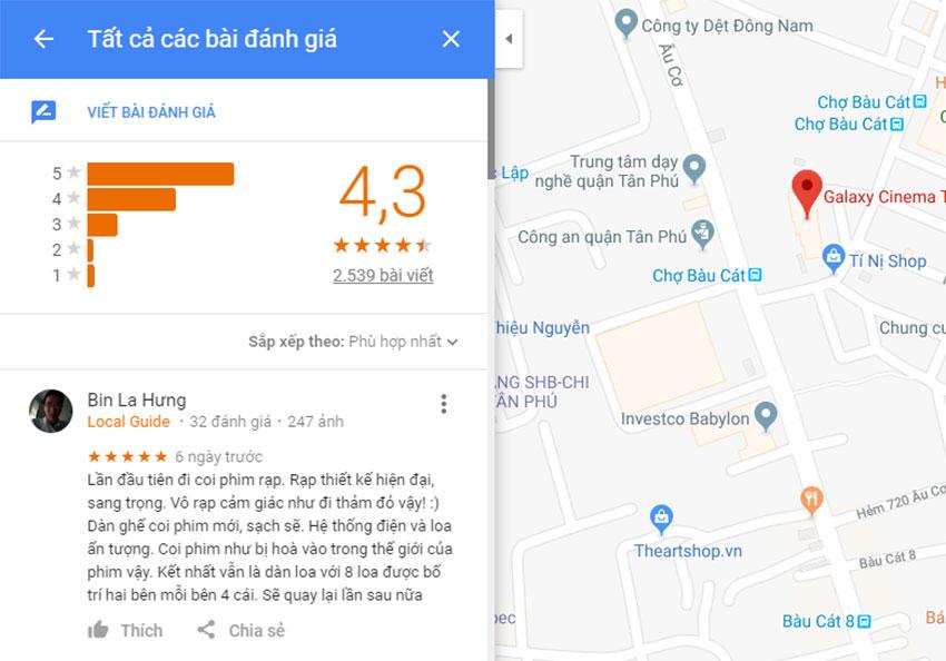 bài đánh giá của google map