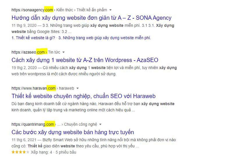 domain tiêu chí seo